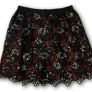 DeCollection Skirt Black and Red Lace Skirt